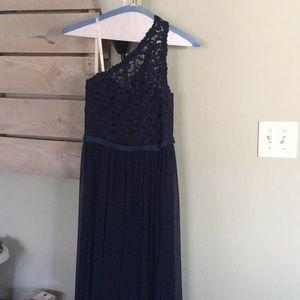 Long Marine David's Bridal dress